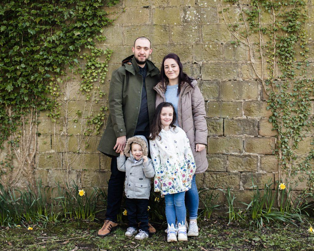 Family portrait, smiling family, Lancashire photographer.