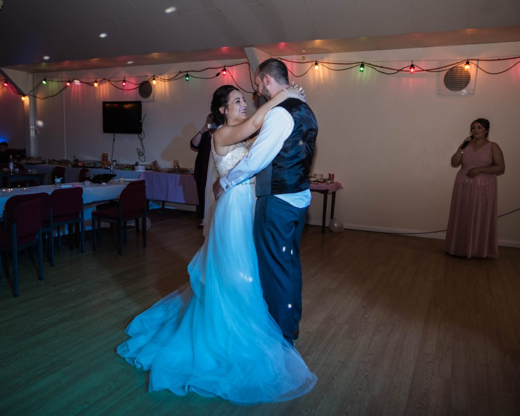 bride and groom during their first dance, wedding photography in Lancashire.
