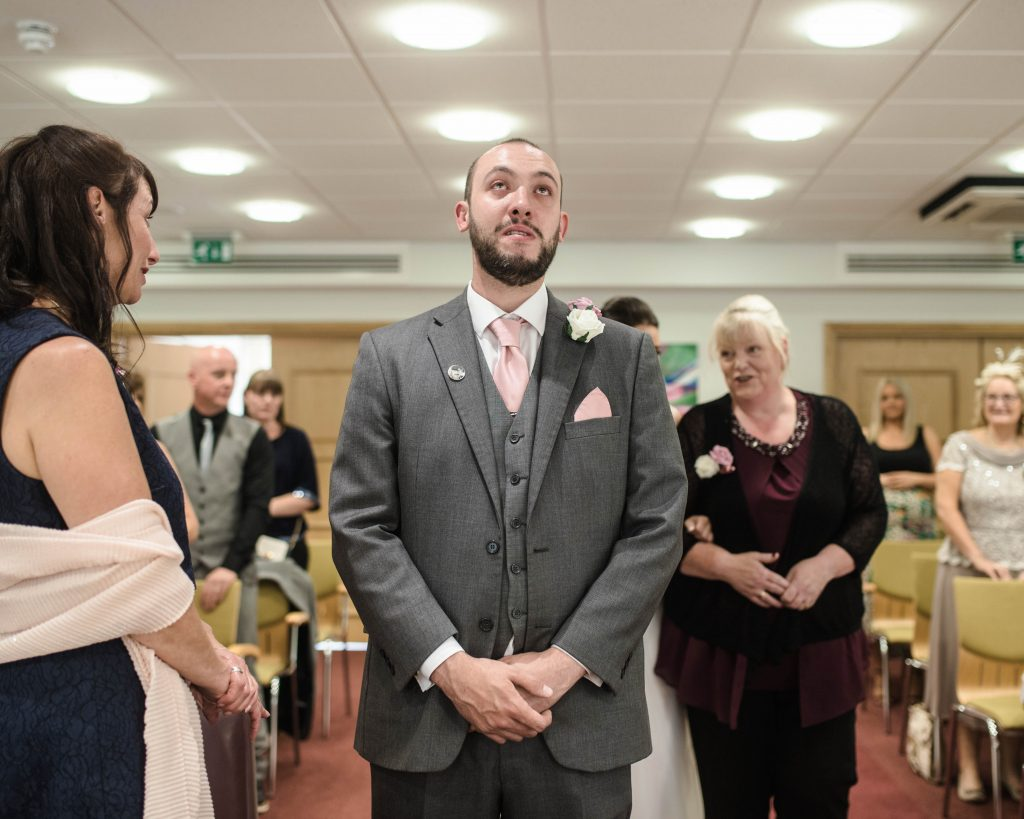 groom waiting for his bride to walk down the isle, Lancashire wedding photographer.
