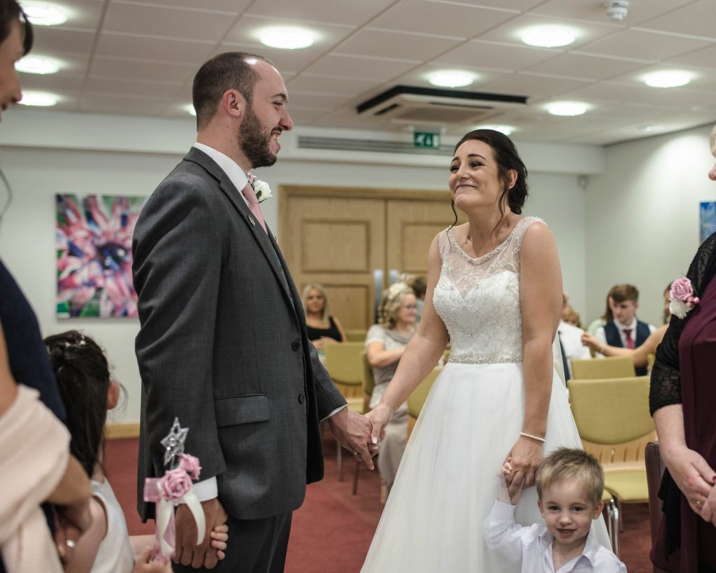 the bride and groom at the later, Lancashire wedding photography.