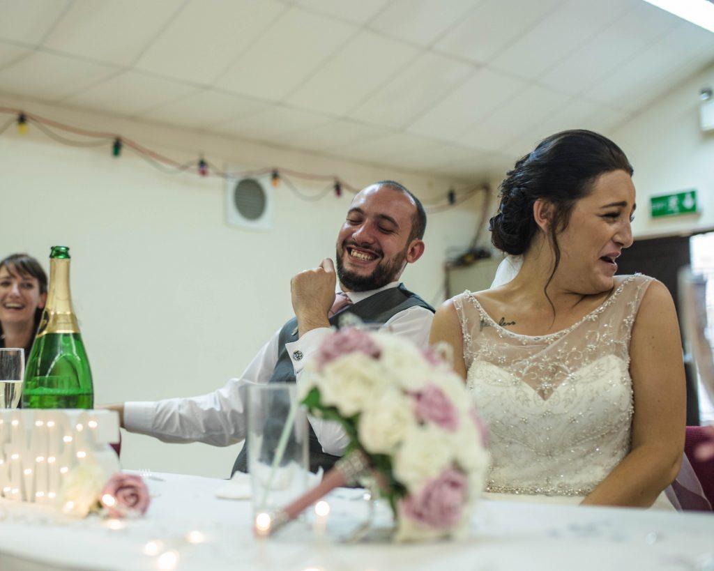 bride and groom during wedding speeches. Lancashire wedding photography.