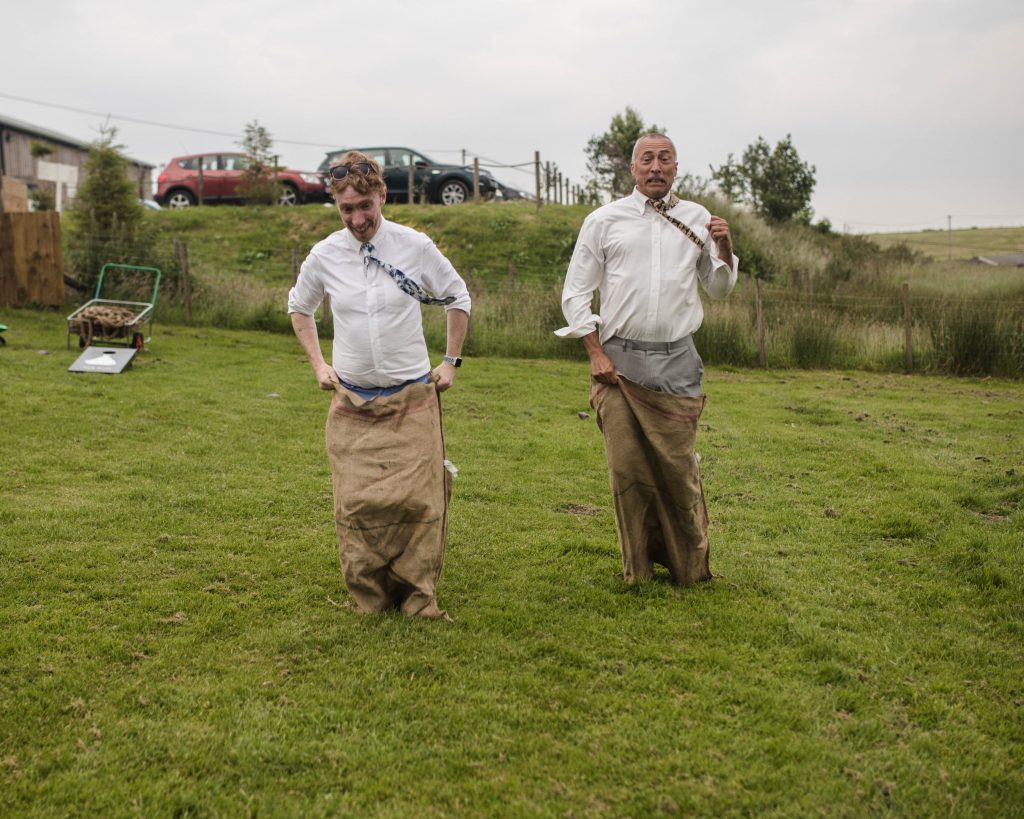 sack race from the wedding guests at the wellbeing farm in lancashire.