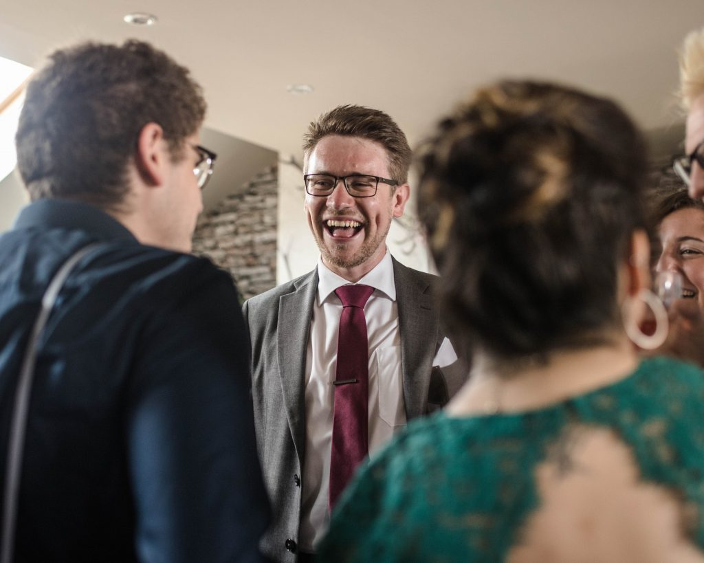 Laughter form the wedding guests, wellbeing farm wedding in lancashire.
