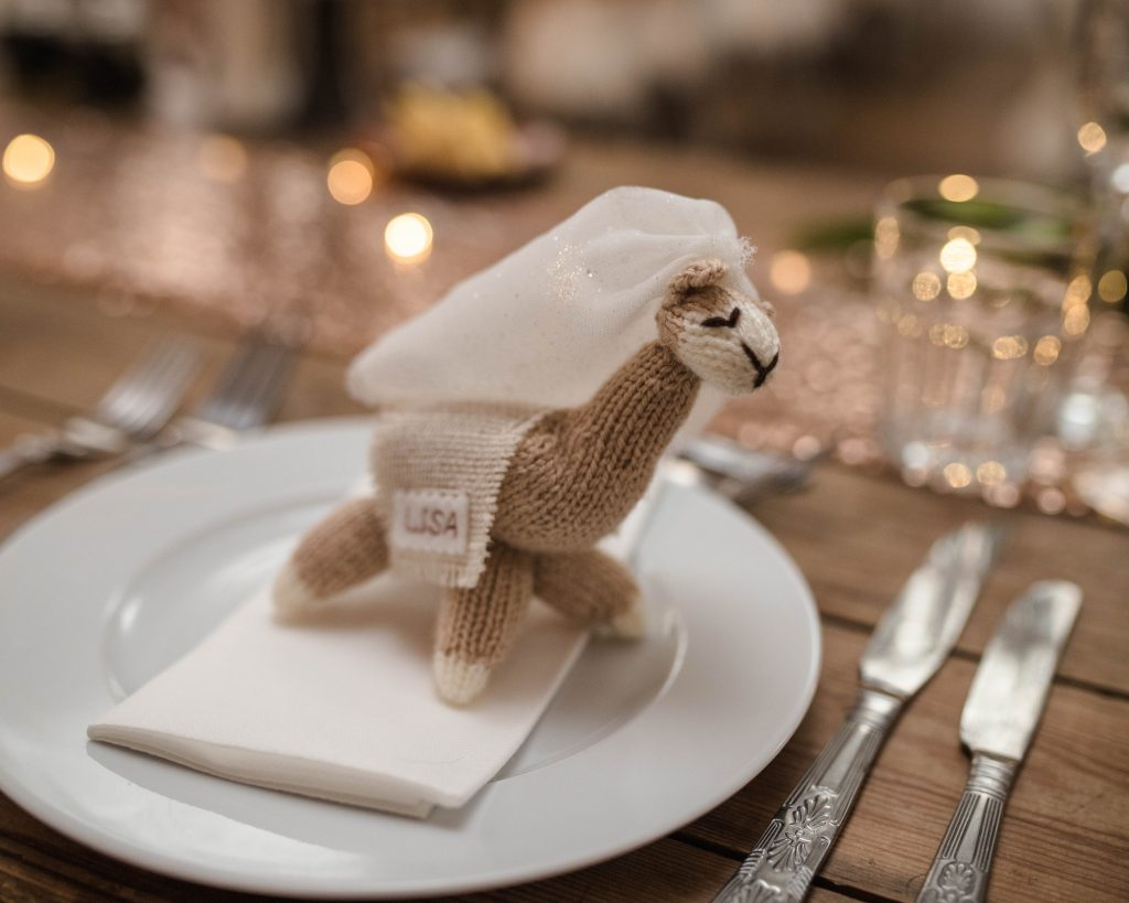 Hand made knitted llama, creative wedding photography in lancashire.