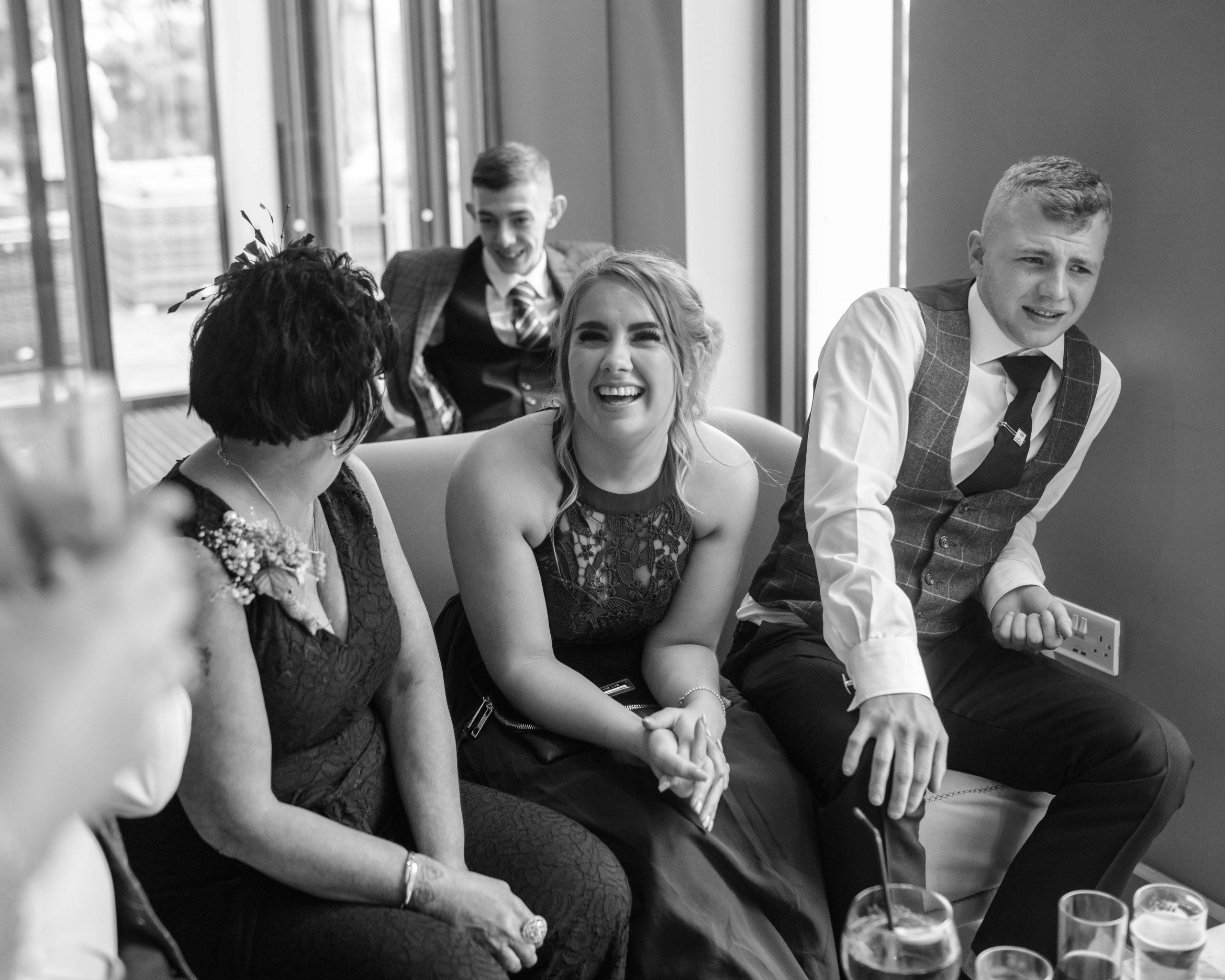 happy smiling wedding guests, Lancashire Wedding photography