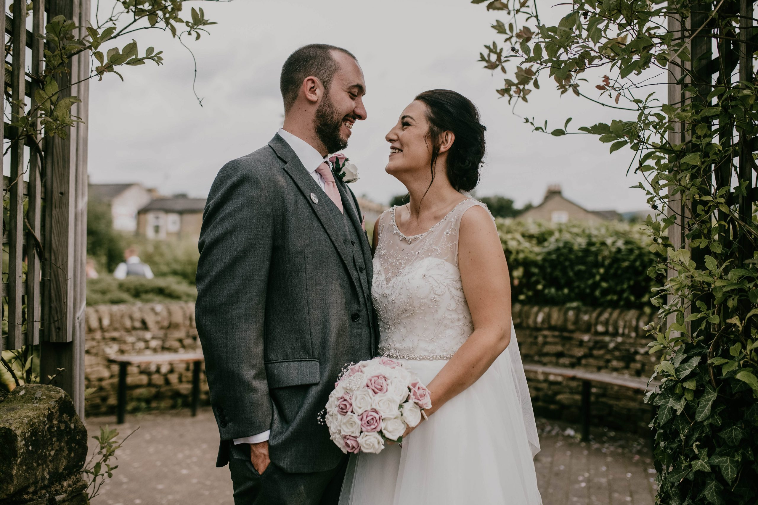 smiling bride and groom, Lancashire Wedding photography