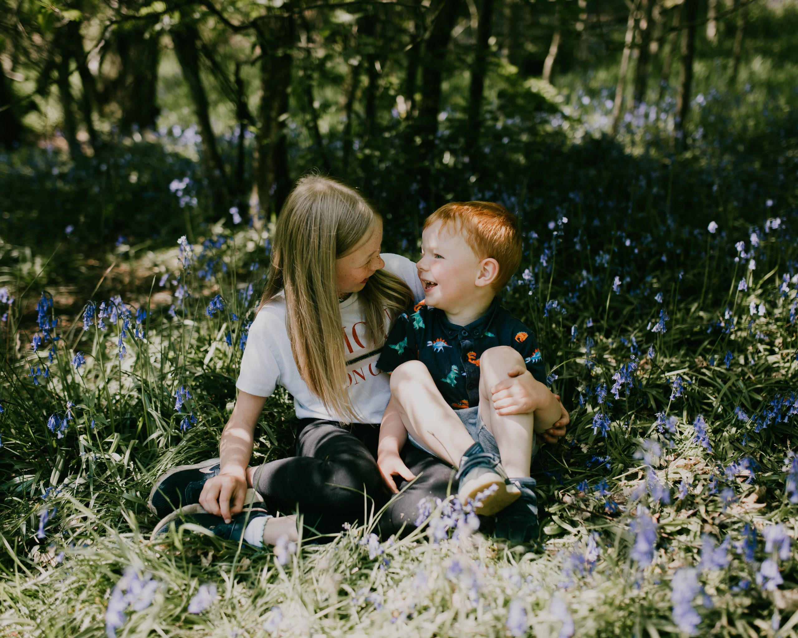 smiling brother and sister, lancashire family photography