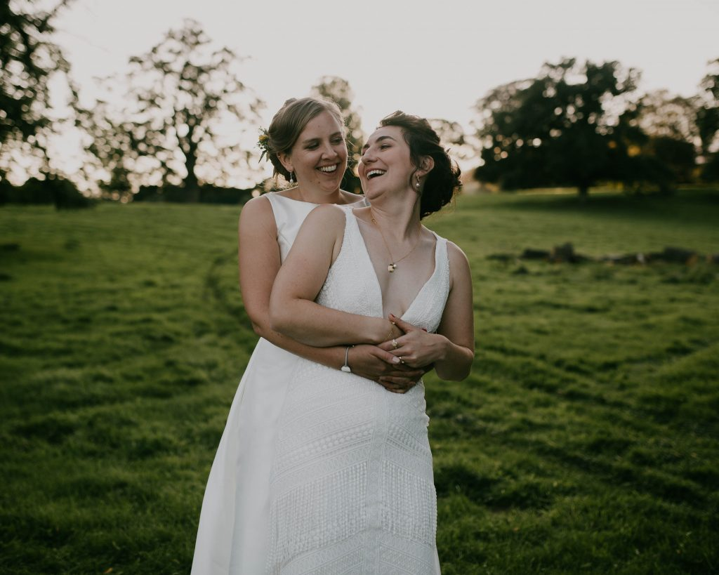 the bride and her bride, outdoor wedding in the Lake District