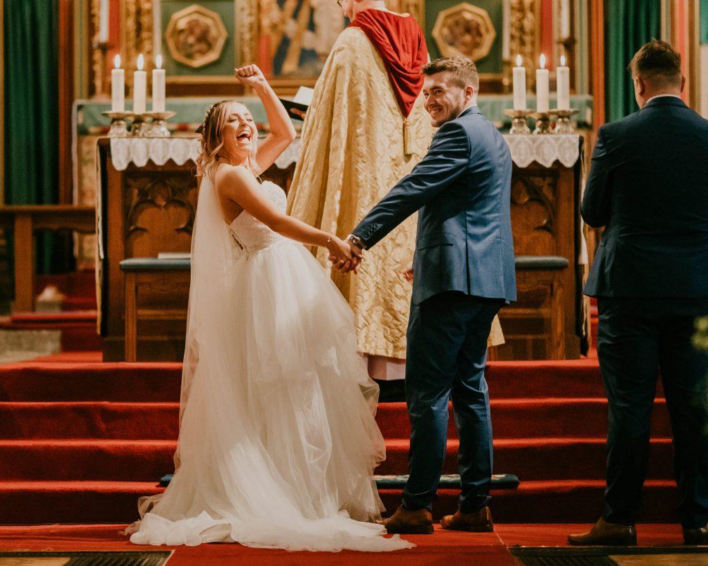 happy bride, teepee wedding in Chorley