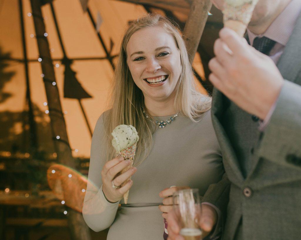 ice cream, teepee wedding in Chorley