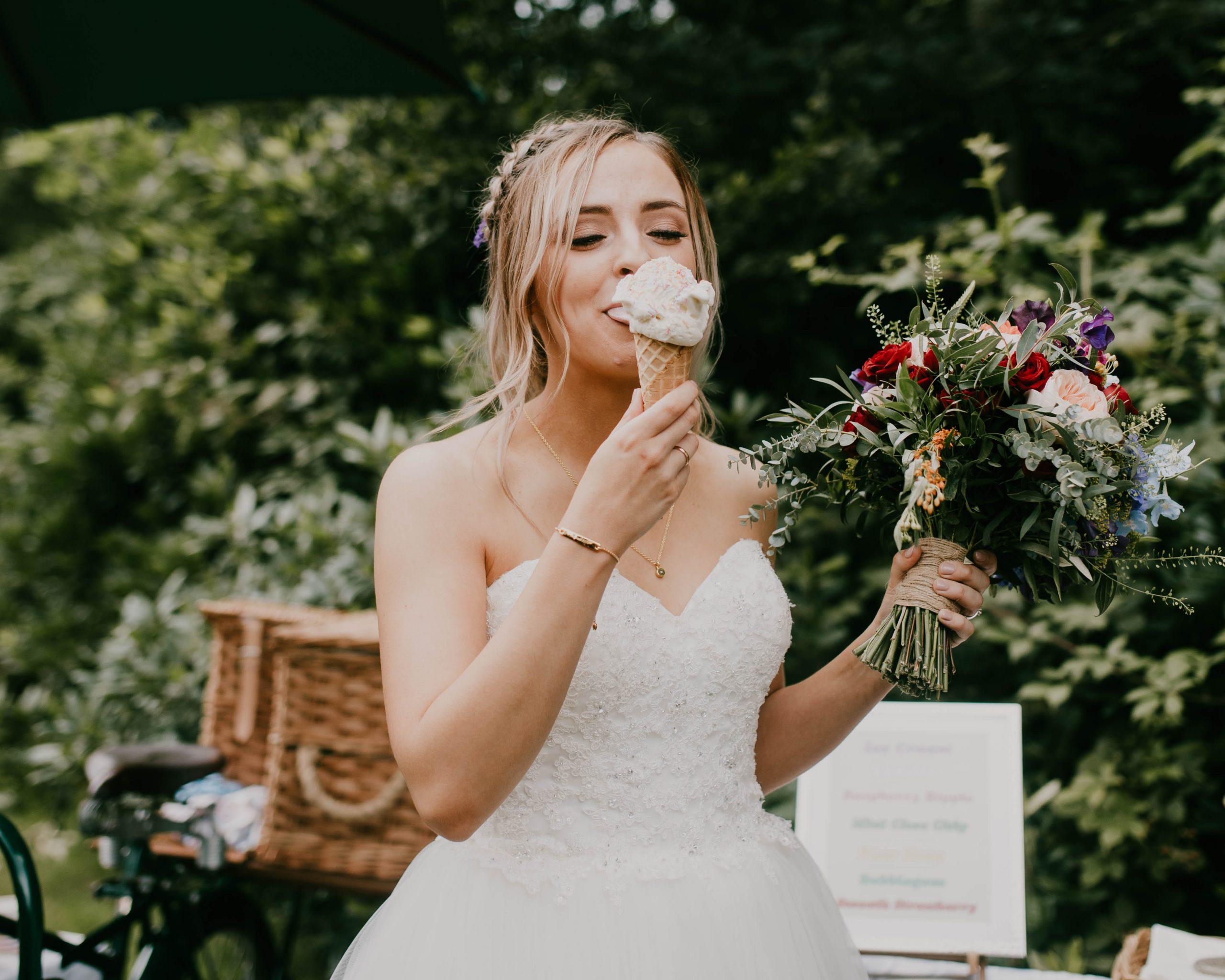 bride eating ice cream, lancashire wedding photography
