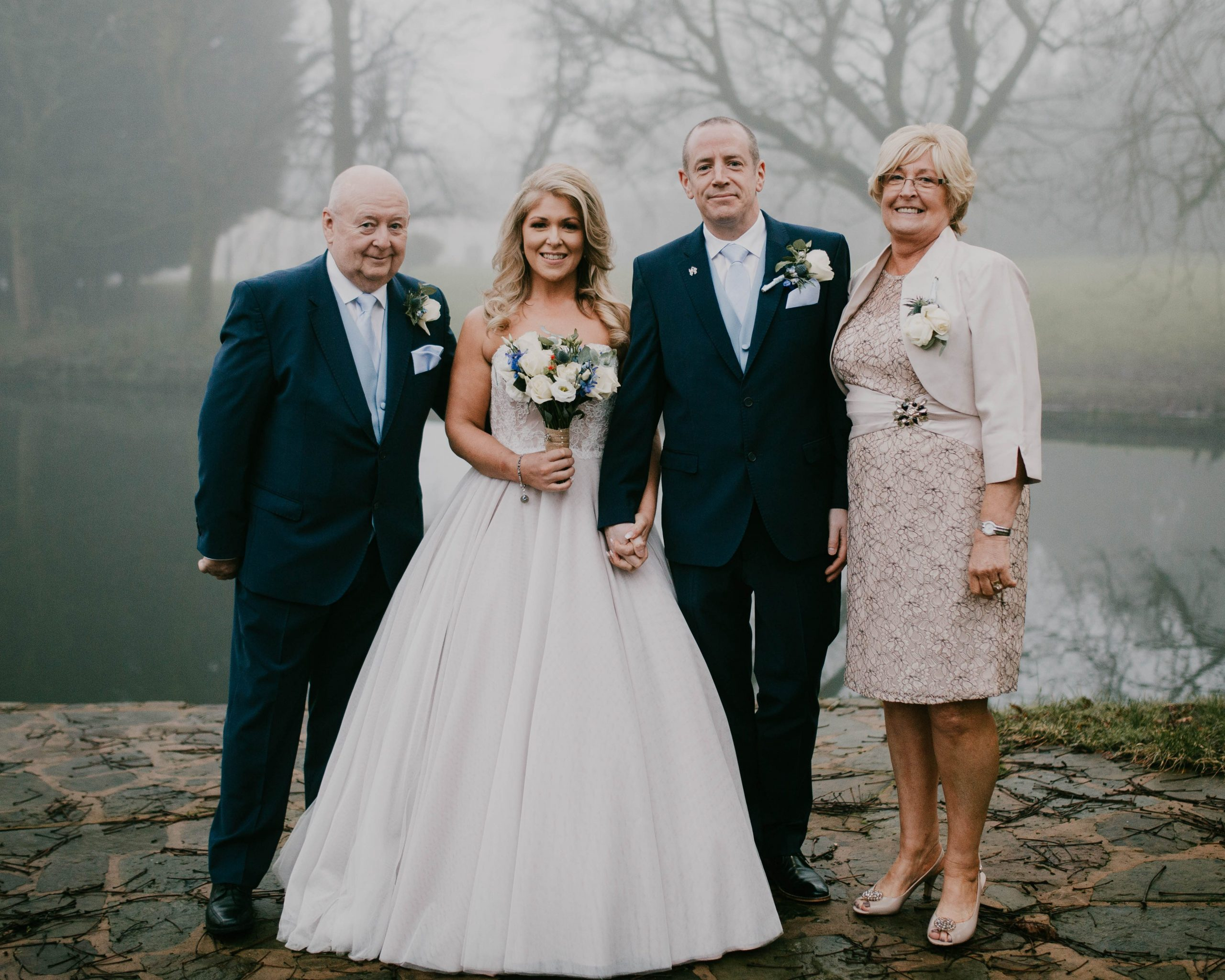 group photo of the bride and her parents, Bolholt country park hotel wedding