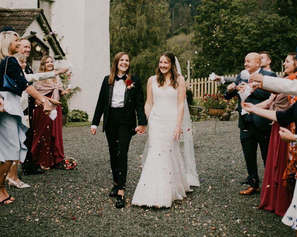 confetti faces at cote how, Lake District wedding