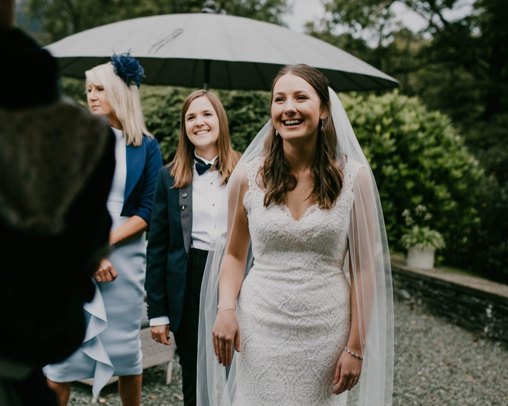 laughter from the brides during the Lake District wedding
